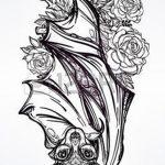 фото Эскизы тату летучая мышь от 27.09.2017 №015 - Sketches a bat tattoo - tatufoto.com