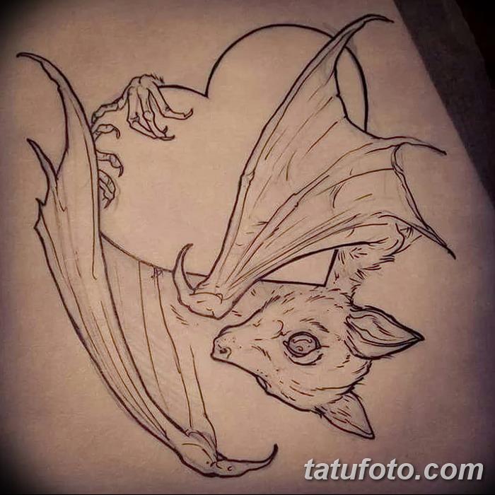 фото Эскизы тату летучая мышь от 27.09.2017 №016 - Sketches a bat tattoo - tatufoto.com