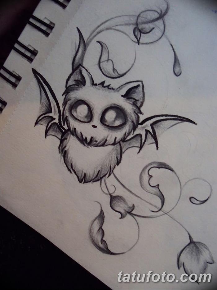 фото Эскизы тату летучая мышь от 27.09.2017 №042 - Sketches a bat tattoo - tatufoto.com