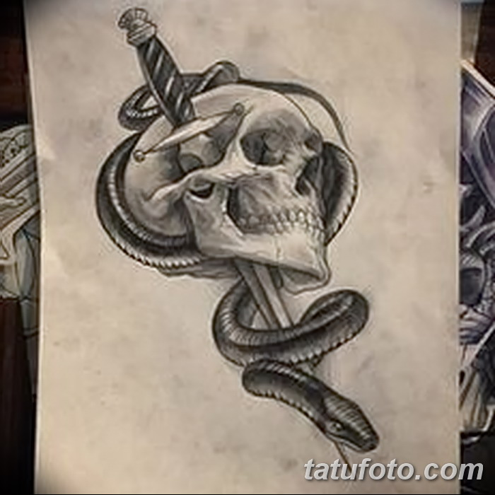 фото Эскизы тату меч и змея от 26.09.2017 №001 - Sketches tattoo sword - tatufoto.com