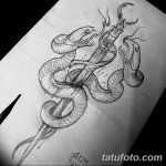 фото Эскизы тату меч и змея от 26.09.2017 №007 - Sketches tattoo sword - tatufoto.com
