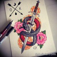 Эскизы тату меч и змея
