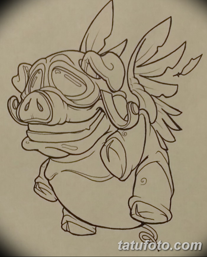 фото Эскизы тату свинья (кабан) от 26.09.2017 №003 - Sketches of a pig - tatufoto.com
