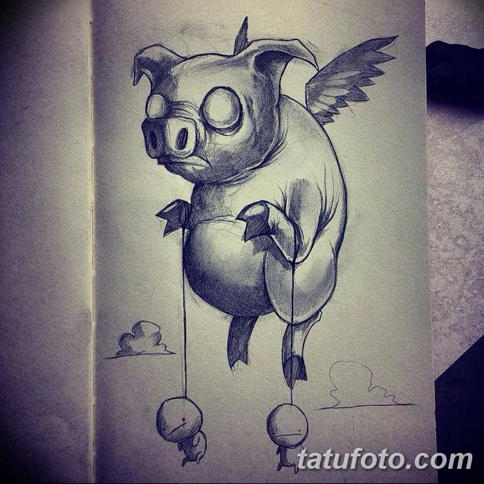 фото Эскизы тату свинья (кабан) от 26.09.2017 №013 - Sketches of a pig - tatufoto.com