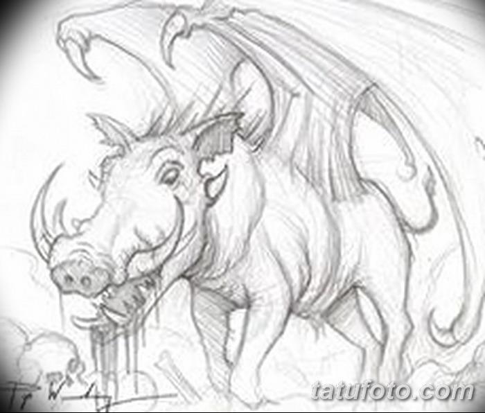 фото Эскизы тату свинья (кабан) от 26.09.2017 №028 - Sketches of a pig - tatufoto.com
