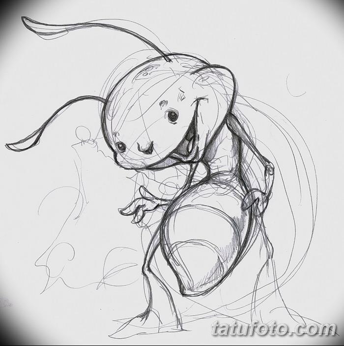 фото Эскиз тату муравей от 07.09.2017 №024 - Sketch of an ant tattoo - tatufoto.com