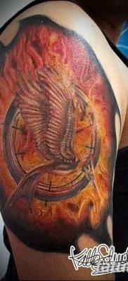 фото тату Сойка пересмешница от 25.09.2017 №056 – Tattoo Hunger Games – tatufoto.com