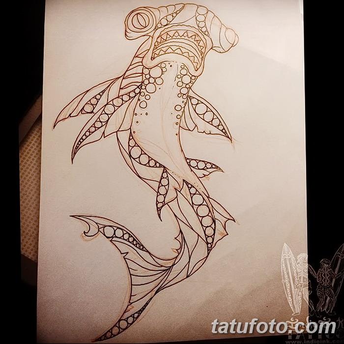 фото тату акула-молот от 25.09.2017 №037 - tattoo hammerhead shark - tatufoto.com