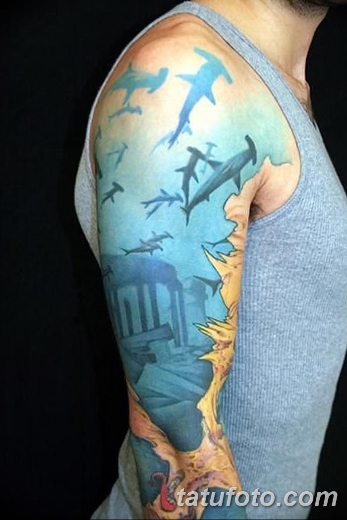 фото тату акула-молот от 25.09.2017 №080 - tattoo hammerhead shark - tatufoto.com