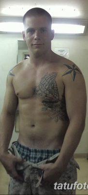 фото тату звезды на плечах от 19.09.2017 №034 – tattoo of a star on the shoul – tatufoto.com