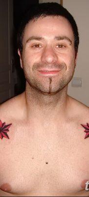 фото тату звезды на плечах от 19.09.2017 №048 – tattoo of a star on the shoul – tatufoto.com