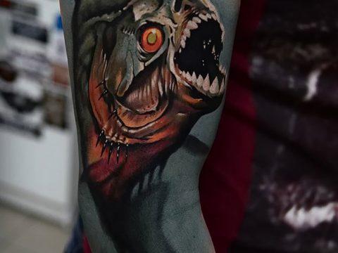 фото тату пиранья от 15.09.2017 №043 - tattoo piranha - tatufoto.com