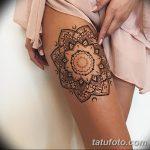 фото Мехенди на ляжке от 25.10.2017 №001 - Mehendi on thigh - tatufoto.com