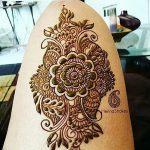фото Мехенди на ляжке от 25.10.2017 №012 - Mehendi on thigh - tatufoto.com