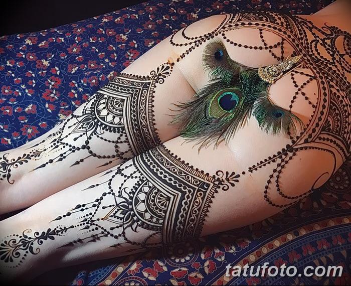 фото Мехенди на ляжке от 25.10.2017 №021 - Mehendi on thigh - tatufoto.com