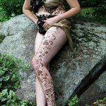 фото Мехенди на ляжке от 25.10.2017 №032 - Mehendi on thigh - tatufoto.com