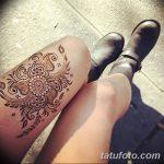 фото Мехенди на ляжке от 25.10.2017 №041 - Mehendi on thigh - tatufoto.com