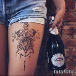 фото Мехенди на ляжке от 25.10.2017 №046 - Mehendi on thigh - tatufoto.com