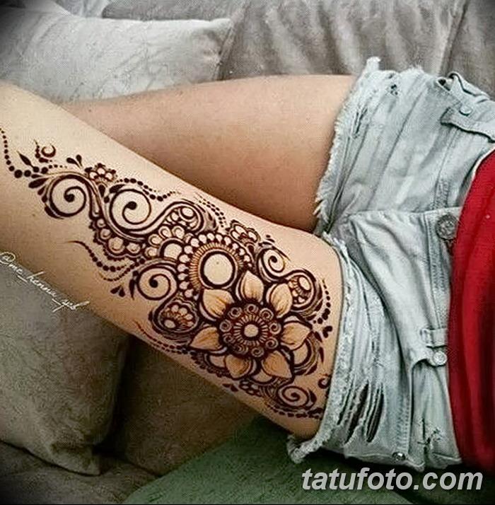 фото Мехенди на ляжке от 25.10.2017 №049 - Mehendi on thigh - tatufoto.com