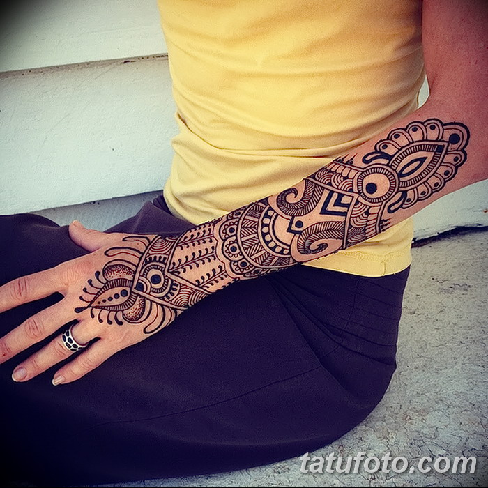 фото Мехенди на предплечье от 28.10.2017 №016 - Mehendi on the forearm - tatufoto.com