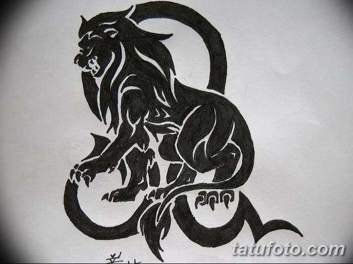 В сравнении с настоящим львом, астрологический символ сложнее обыграть на теле, поэтому его наносят небольшого размера или создают эскиз по заказу.