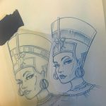 фото Эскизы тату Нефертити от 02.10.2017 №013 - Sketches of Nefertiti - tatufoto.com