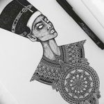 фото Эскизы тату Нефертити от 02.10.2017 №017 - Sketches of Nefertiti - tatufoto.com
