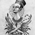 фото Эскизы тату Нефертити от 02.10.2017 №035 - Sketches of Nefertiti - tatufoto.com