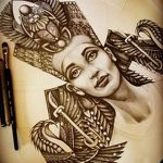фото Эскизы тату Нефертити от 02.10.2017 №043 - Sketches of Nefertiti - tatufoto.com