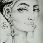 фото Эскизы тату Нефертити от 02.10.2017 №044 - Sketches of Nefertiti - tatufoto.com