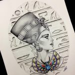 фото Эскизы тату Нефертити от 02.10.2017 №046 - Sketches of Nefertiti - tatufoto.com