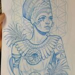 фото Эскизы тату Нефертити от 02.10.2017 №065 - Sketches of Nefertiti - tatufoto.com
