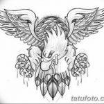 фото Эскизы тату орёл от 21.10.2017 №087 - Sketches of an eagle tattoo - tatufoto.com