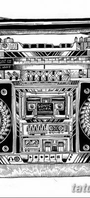 фото татуировка динамик и магнитофон от 11.10.2017 №038 – tattoo speaker – tatufoto.com