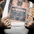 фото татуировка динамик и магнитофон от 11.10.2017 №045 - tattoo speaker - tatufoto.com