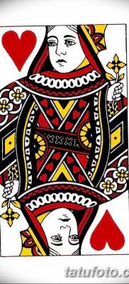 фото тату игральная карта королева червовая от 21.10.2017 №005 – card queen quill