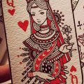фото тату игральная карта королева червовая от 21.10.2017 №008 - card queen quill