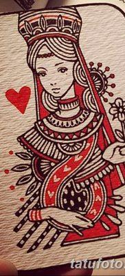 фото тату игральная карта королева червовая от 21.10.2017 №008 – card queen quill