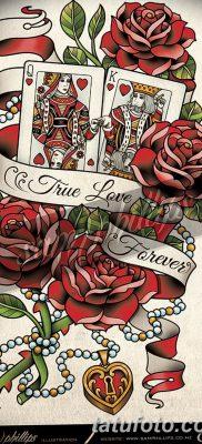 фото тату игральная карта королева червовая от 21.10.2017 №012 – card queen quill