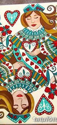 фото тату игральная карта королева червовая от 21.10.2017 №017 – card queen quill