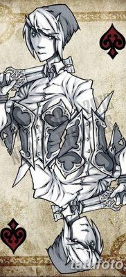 фото тату игральные карты королева от 21.10.2017 №007 – tatoo playing cards queen