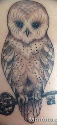 фото тату сова с ключом от 18.10.2017 №001 – owl tattoo with key – tatufoto.com
