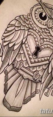 фото тату сова с ключом от 18.10.2017 №003 – owl tattoo with key – tatufoto.com