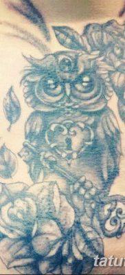 фото тату сова с ключом от 18.10.2017 №005 – owl tattoo with key – tatufoto.com