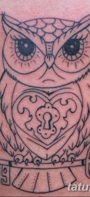 фото тату сова с ключом от 18.10.2017 №007 – owl tattoo with key – tatufoto.com
