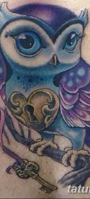 фото тату сова с ключом от 18.10.2017 №008 – owl tattoo with key – tatufoto.com