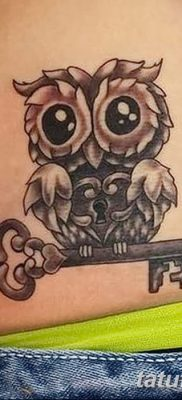 фото тату сова с ключом от 18.10.2017 №009 – owl tattoo with key – tatufoto.com