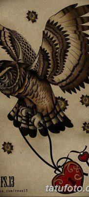 фото тату сова с ключом от 18.10.2017 №013 – owl tattoo with key – tatufoto.com