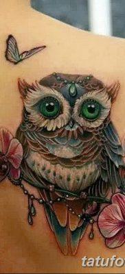 фото тату сова с ключом от 18.10.2017 №014 – owl tattoo with key – tatufoto.com