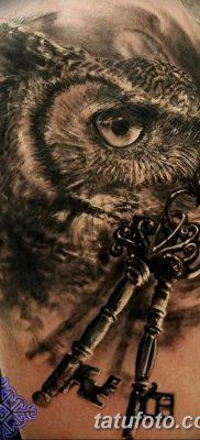 фото тату сова с ключом от 18.10.2017 №015 – owl tattoo with key – tatufoto.com